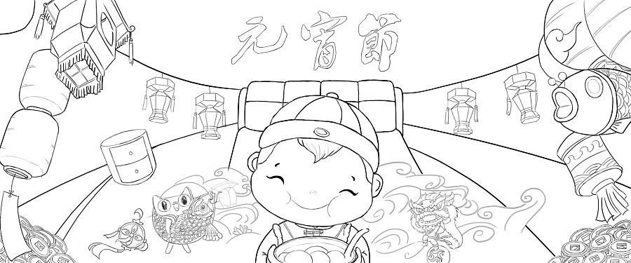 元宵节简笔画图片