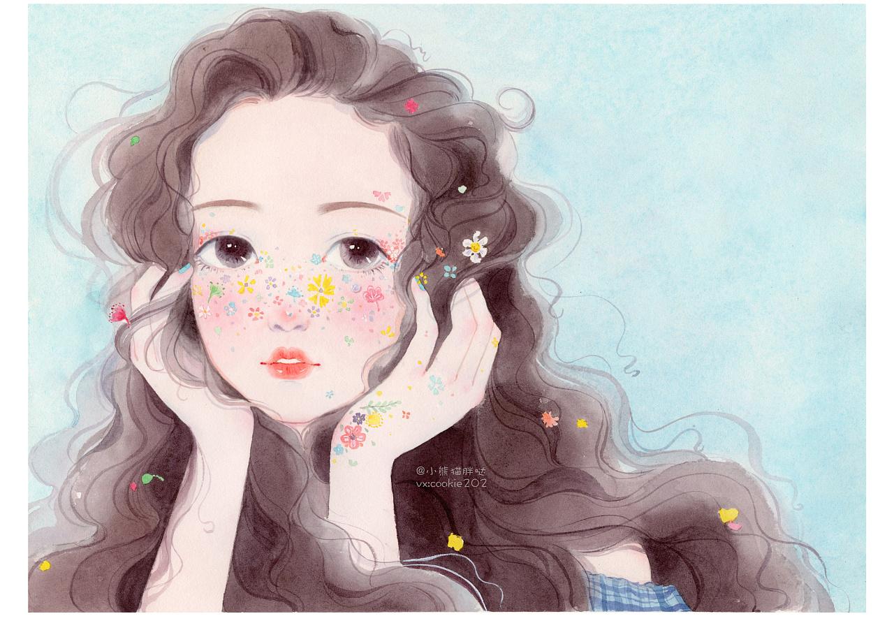 小熊猫胖哒水彩手绘人物水彩少女插画水彩人像头像画像