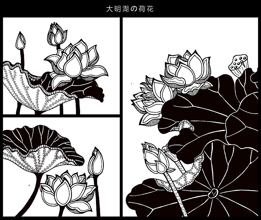 手绘济南-黑白风景装饰画