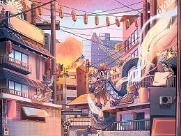 记录梦境--闹市之梦动态插画