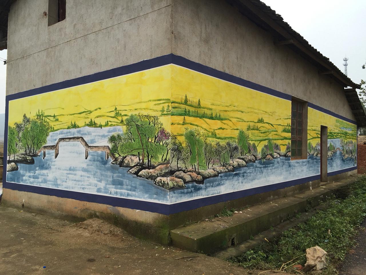 府文化墙,美丽乡村建设,墙体彩绘,3d墙绘