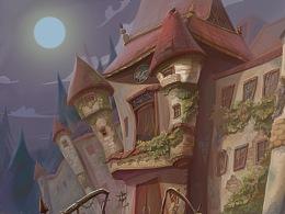 暗黑、卡通气氛古堡绘画步骤,适合手绘初学者参考下