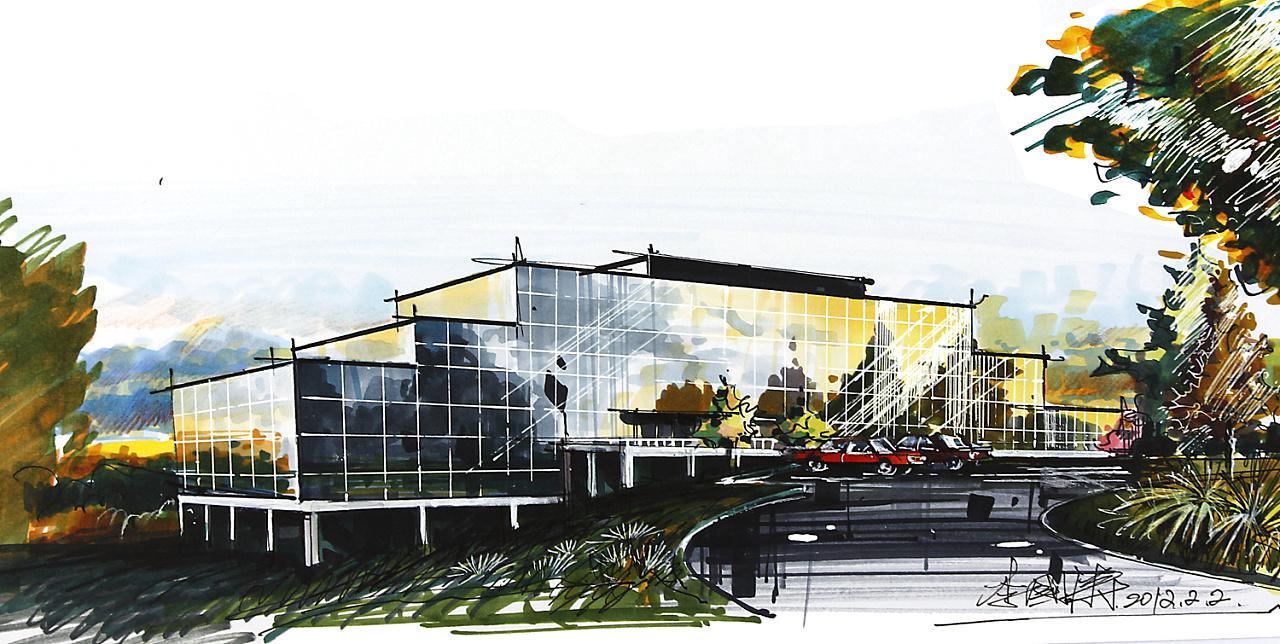 图-建筑手绘效果图马克笔-彩铅建筑手绘效果图-建筑效果图多少钱一张