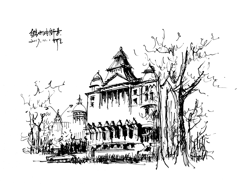 建筑人手绘图片素材