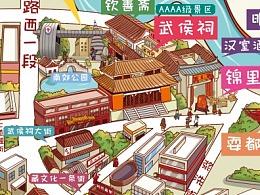 成都市武侯区手绘地图