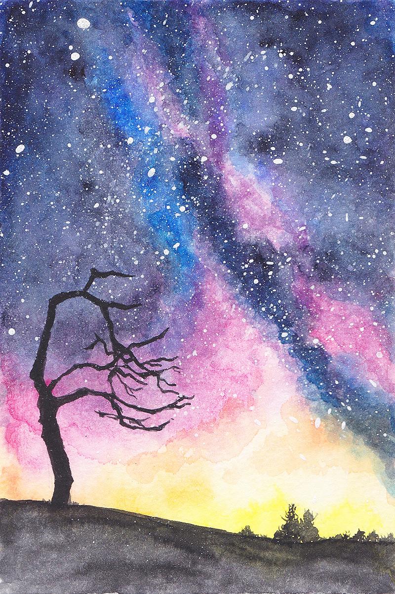 星空水彩画