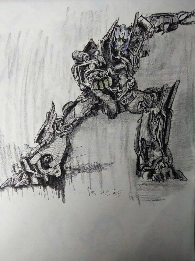 变形金刚|纯艺术|钢笔画|h侯q奇 - 原创作品 - 站酷