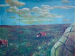 小时候的木版丙烯画《草原牧歌》学习作品