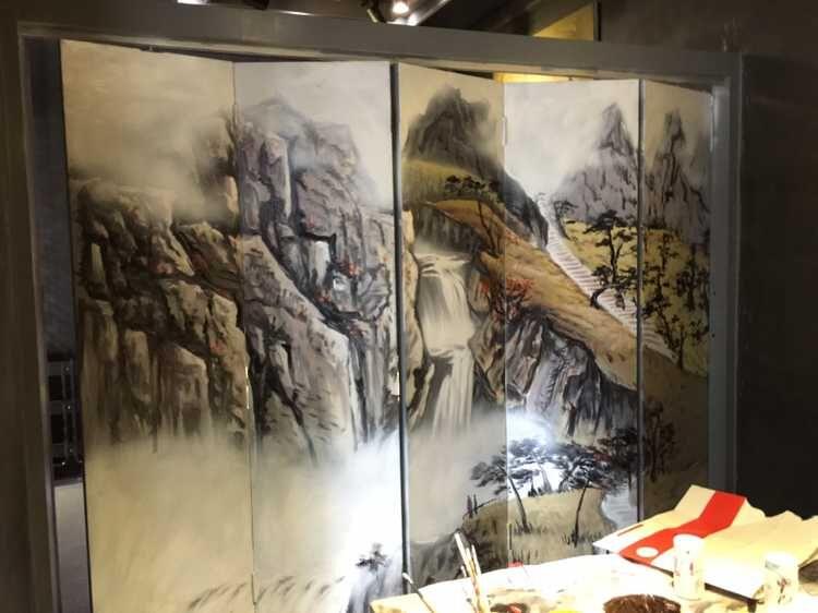餐厅墙面画手绘图片