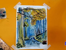 水彩画漫步晨雾中森林小径-小尤说画