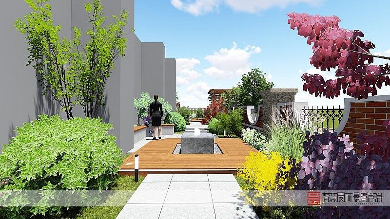 登封天和英伦庄园庭院设计,360平方米庭院设计,郑州别墅庭院设计图片