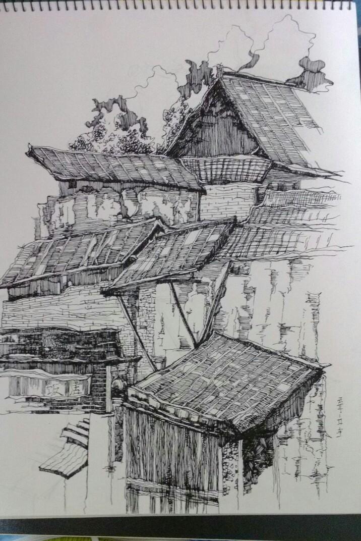 手绘,风景建筑