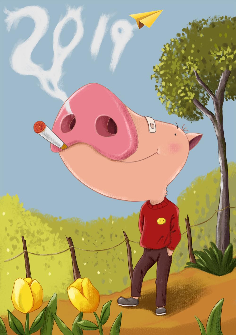 猪年画猪之---好心情图片
