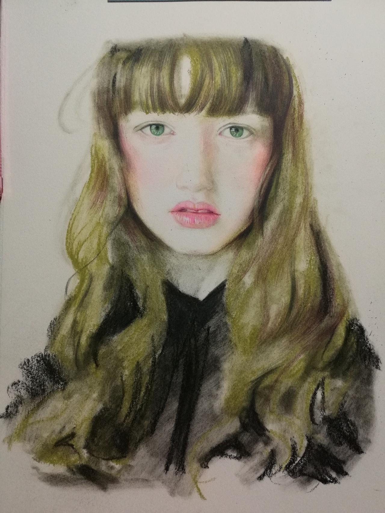 少女肖像彩铅|纯艺术|彩铅|art雯佩 - 原创作品图片