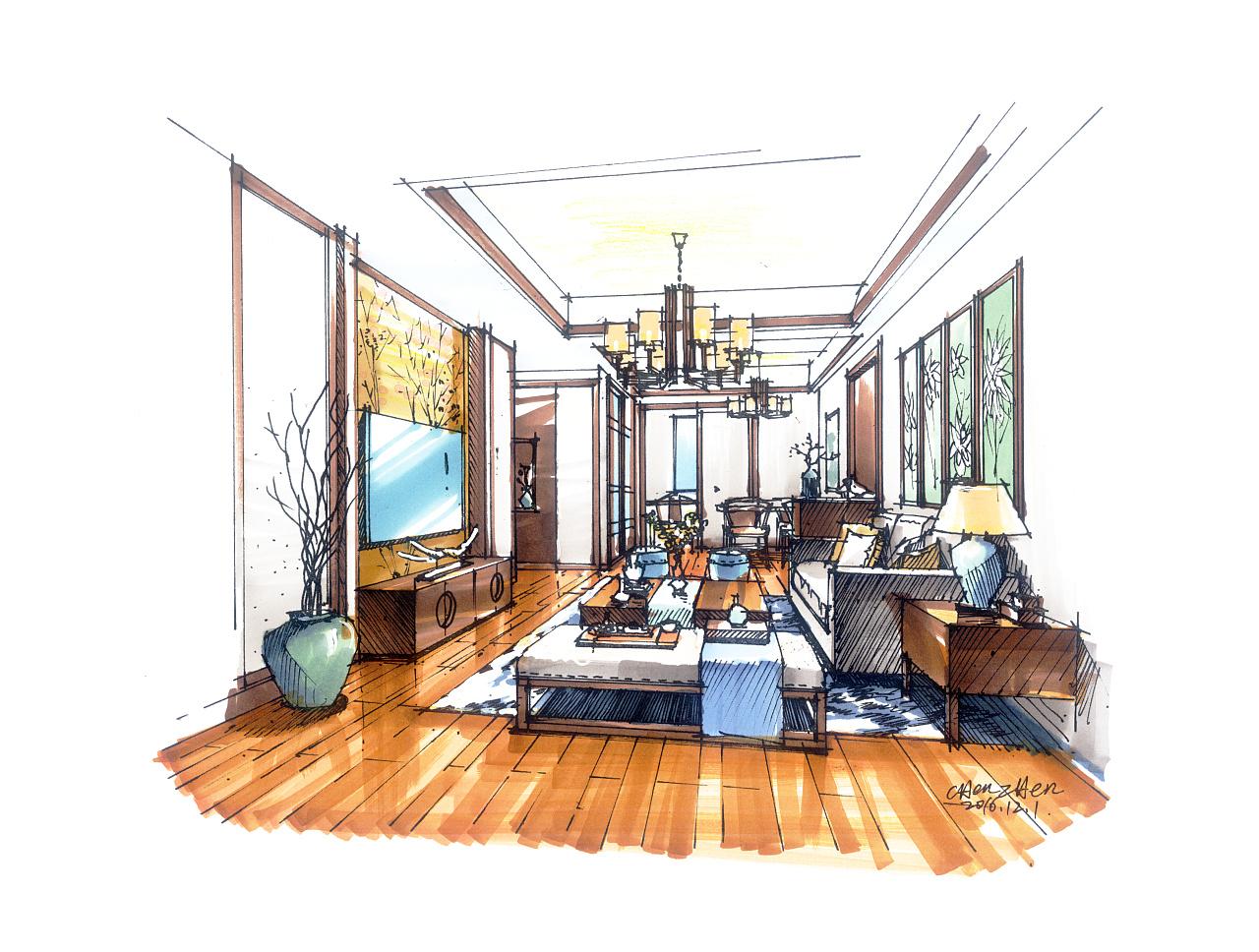 去年的室内手绘作品|空间|室内设计|虎子陈珍 - 原创