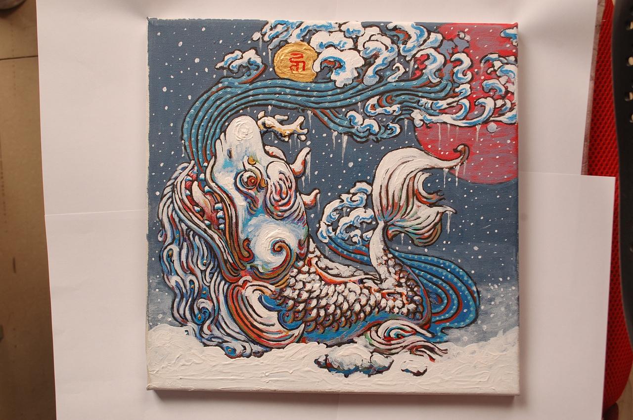 东方玄幻神话生物手绘丙烯装饰画