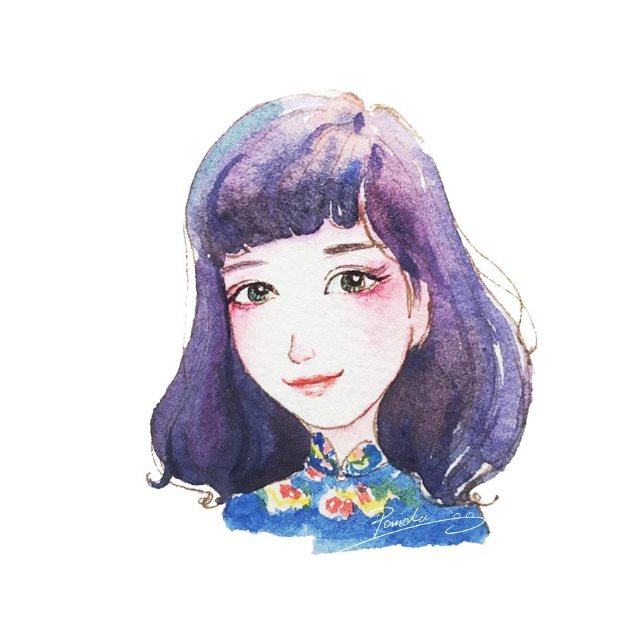 水彩手绘卡通头像|商业插画|插画|小熊猫咯 - 原创