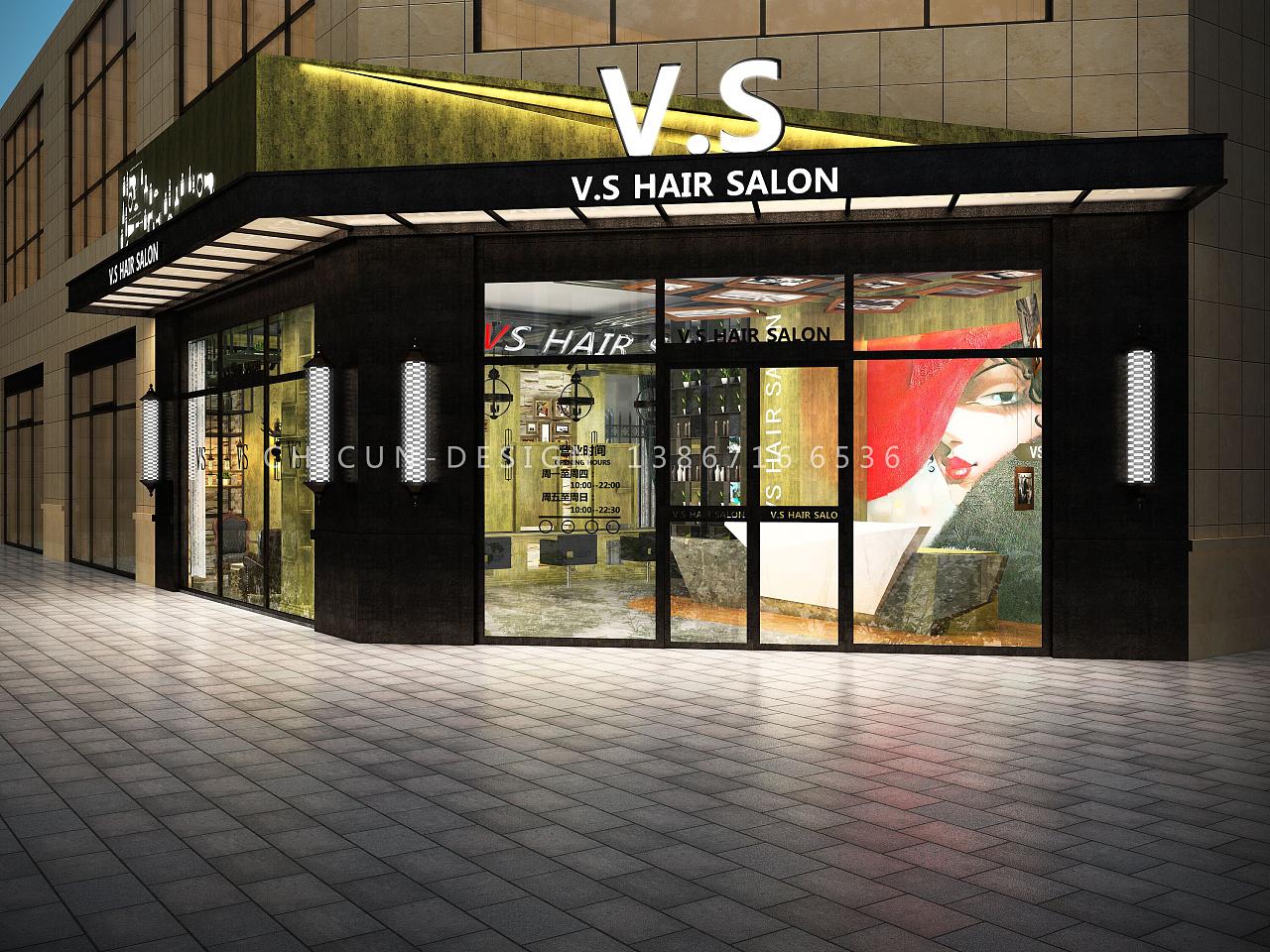 尺寸设计|vs英伦风理发店空间设计 发廊复古设计效果图图片