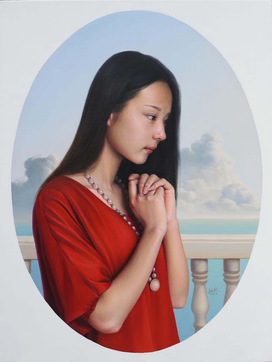 油画 人物 写实 肖像 婚纱