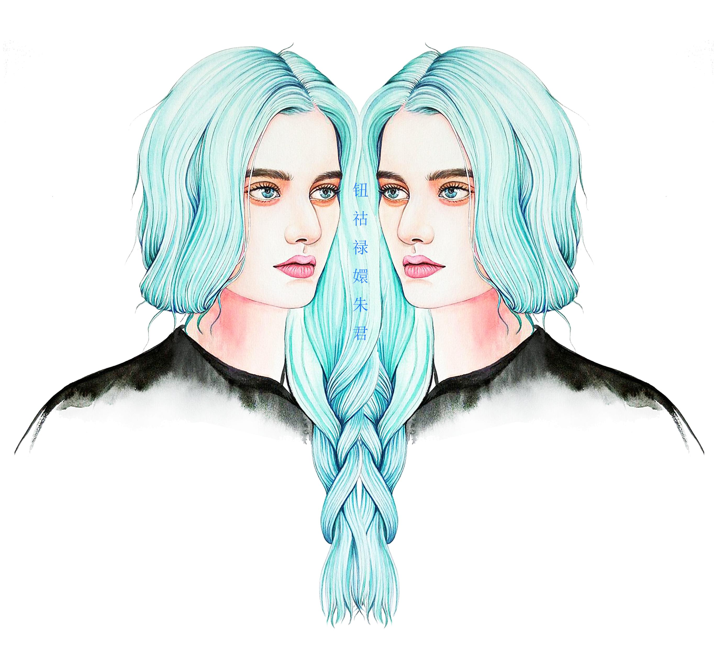 双生手绘设计图片