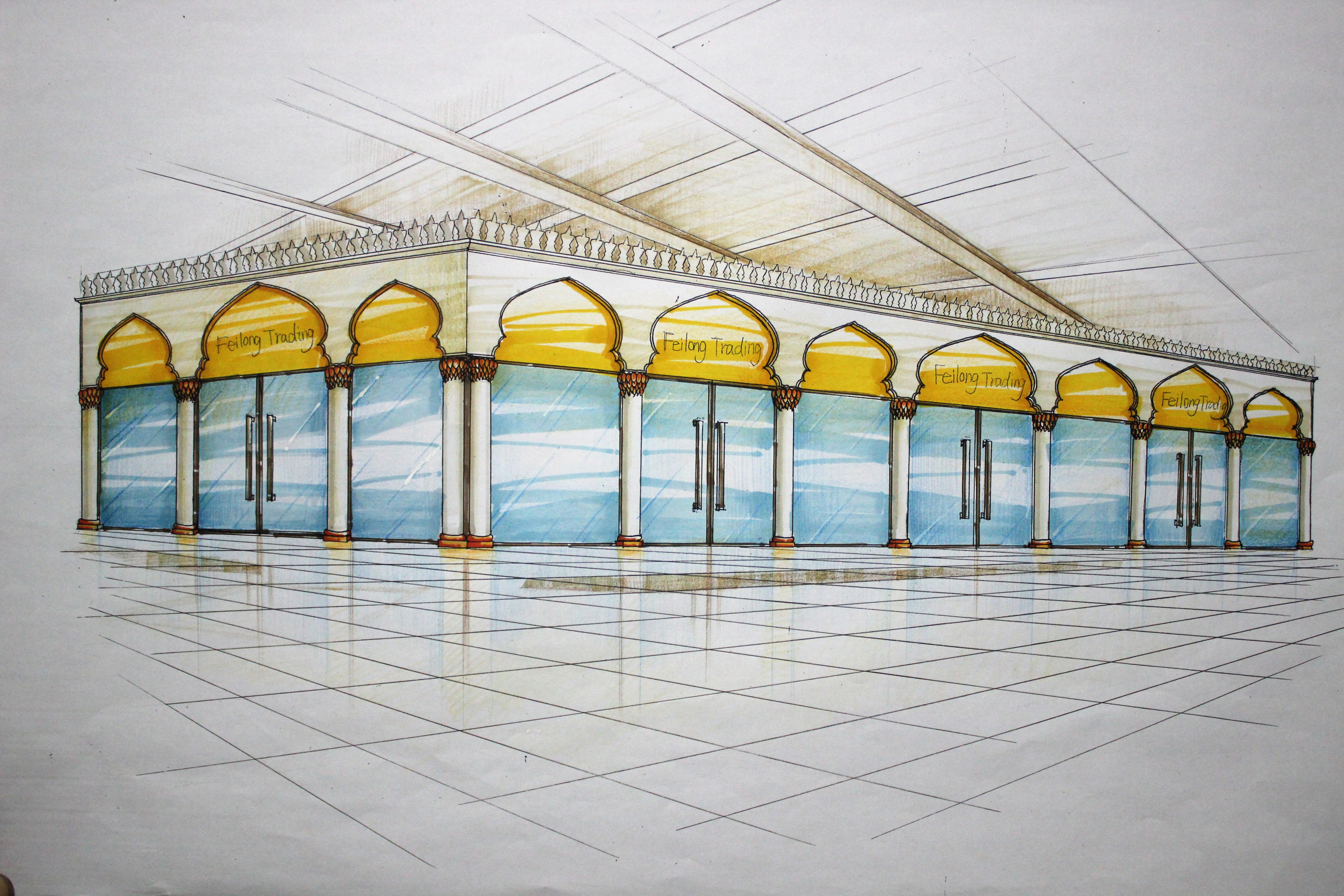 迪拜 商场店面设计 手绘设计方案