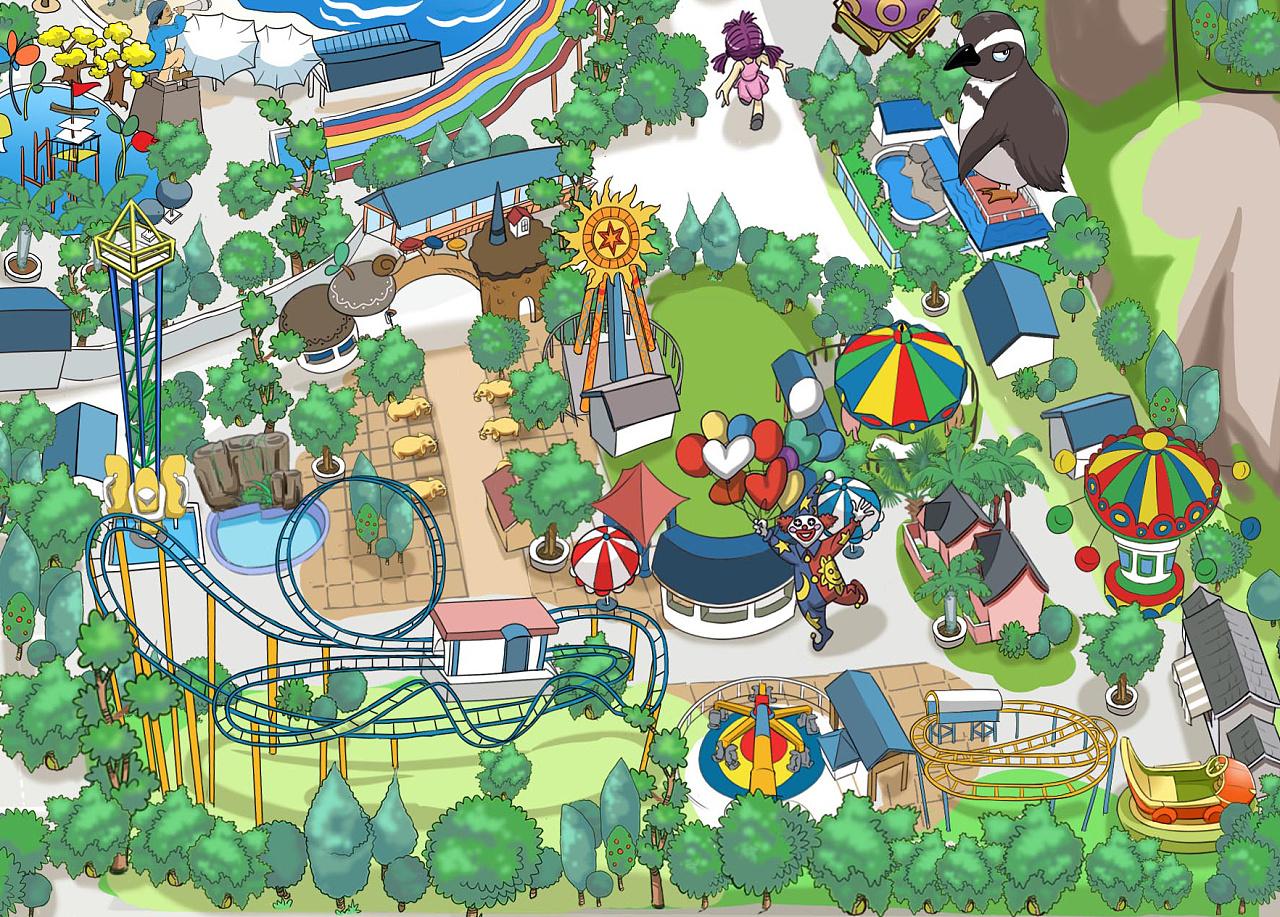 南宁动物园卡通手绘地图