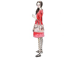 【驴大萌彩铅教程292】手绘时装画 街拍小红裙