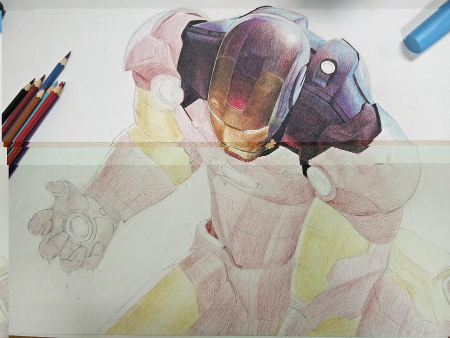 钢铁侠手绘详细过程|彩铅|纯艺术|沈鹏飞steven