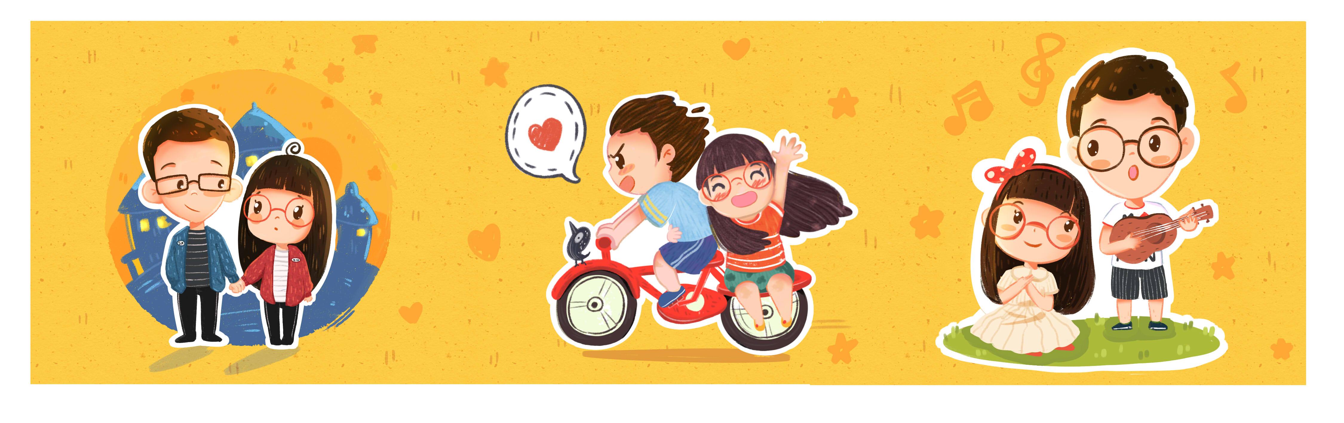 情侣系类|插画|商业插画|葡萄籽同学 - 原创作品图片