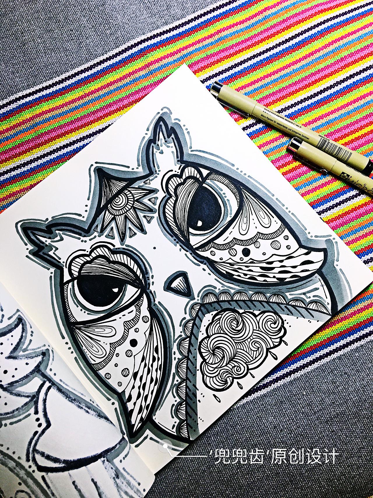 缠绕画,黑白装饰画,民族风,线描,插画,猫头鹰