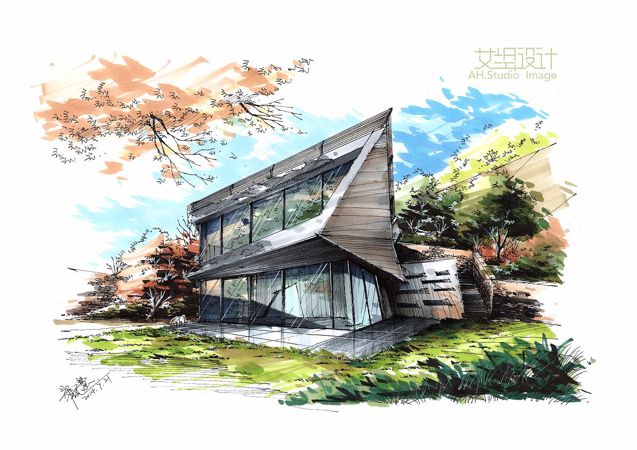 我的几张建筑景观手绘|空间|建筑设计|画手绘的慧丫头