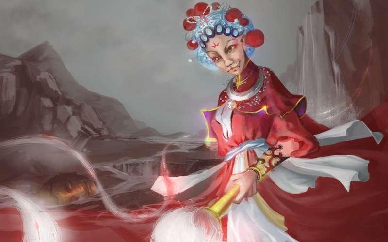 红色古装妖女手绘