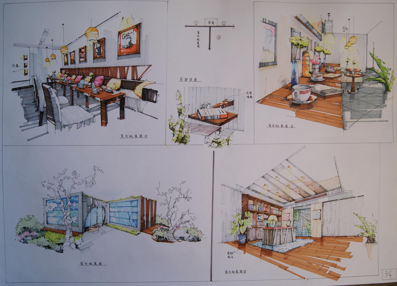 纯手绘 咖啡厅设计