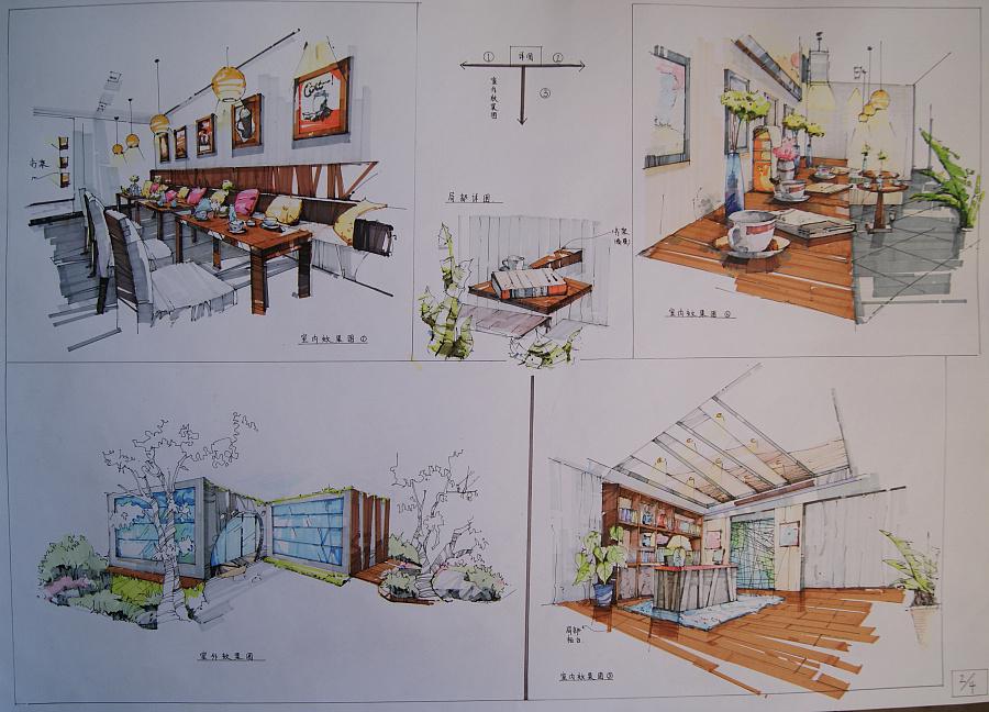 纯手绘 咖啡厅设计|建筑设计|空间/建筑|yy00101