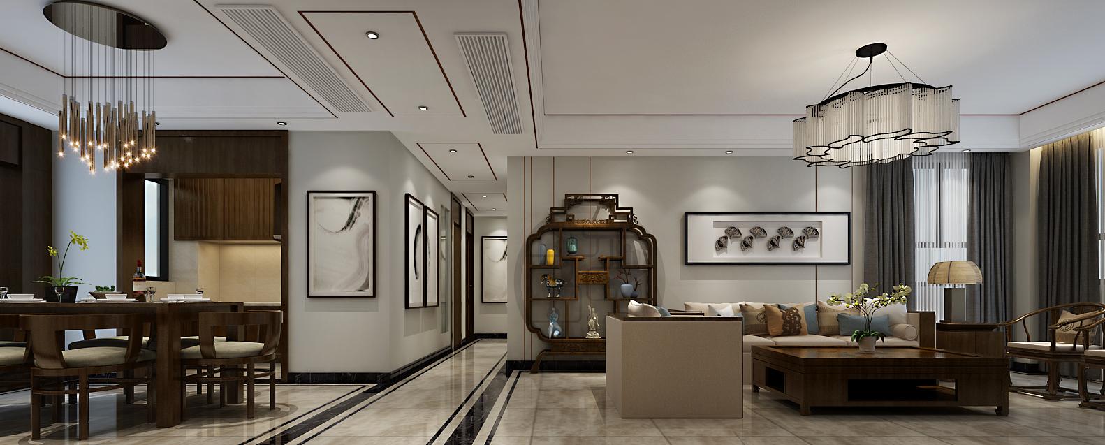 郑州天地湾420平方别墅新中式风格装修效果图