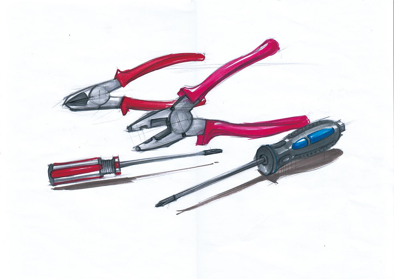 钳子与螺丝刀 产品设计手绘上色|工业/产品|生活用品