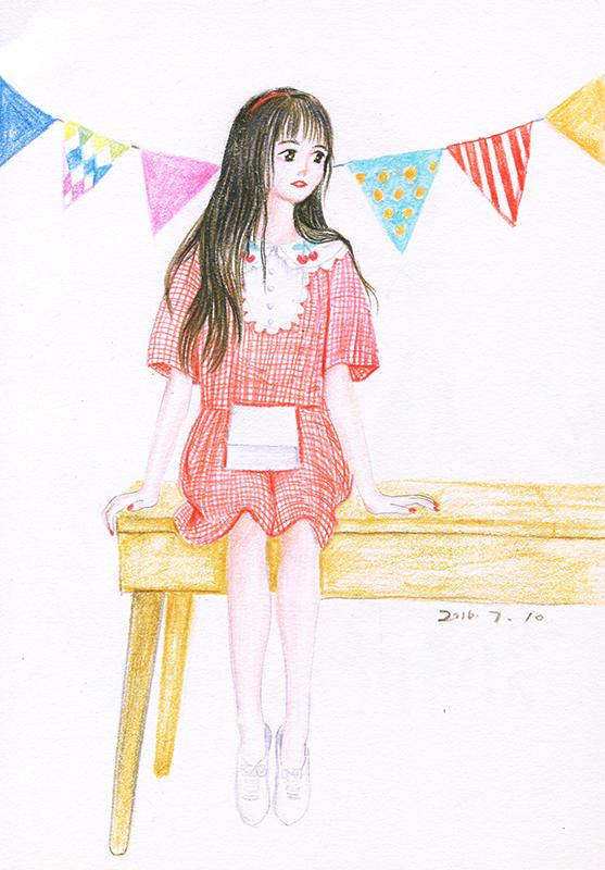 彩铅手绘--少女系