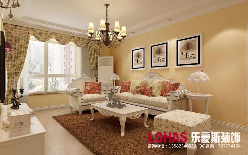 71㎡三室两厅简欧风格设计装修案例效果图