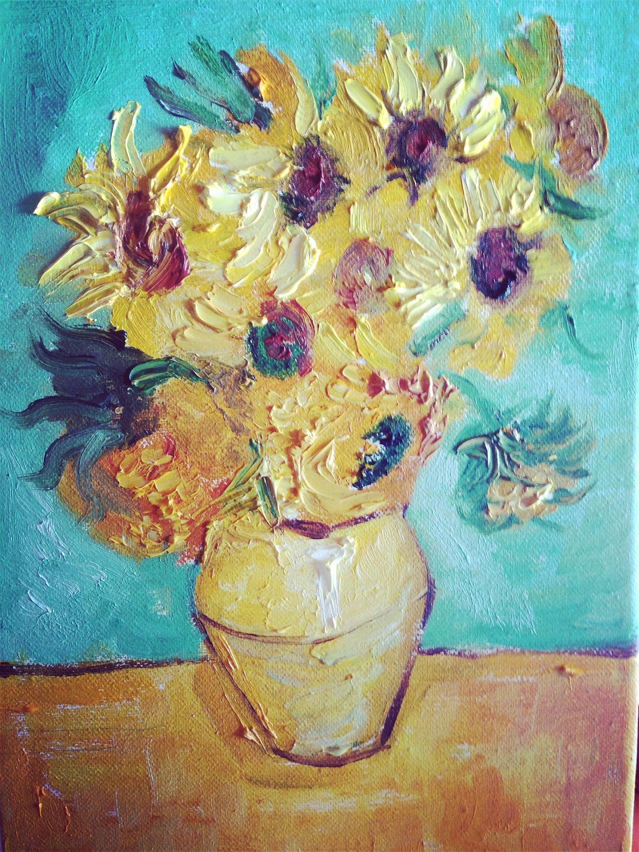 梵高向日葵の油画临摹