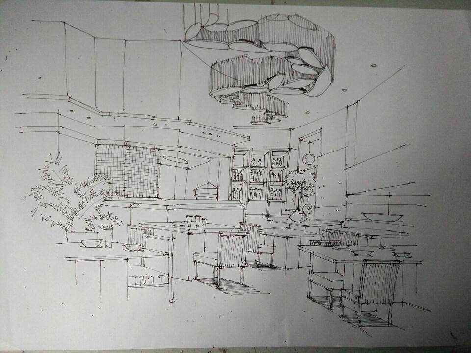 手绘线稿|空间|室内设计|precious烙印 - 原创作品