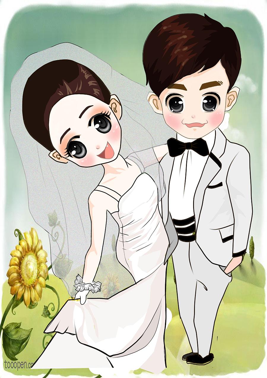 手绘结婚卡通人物