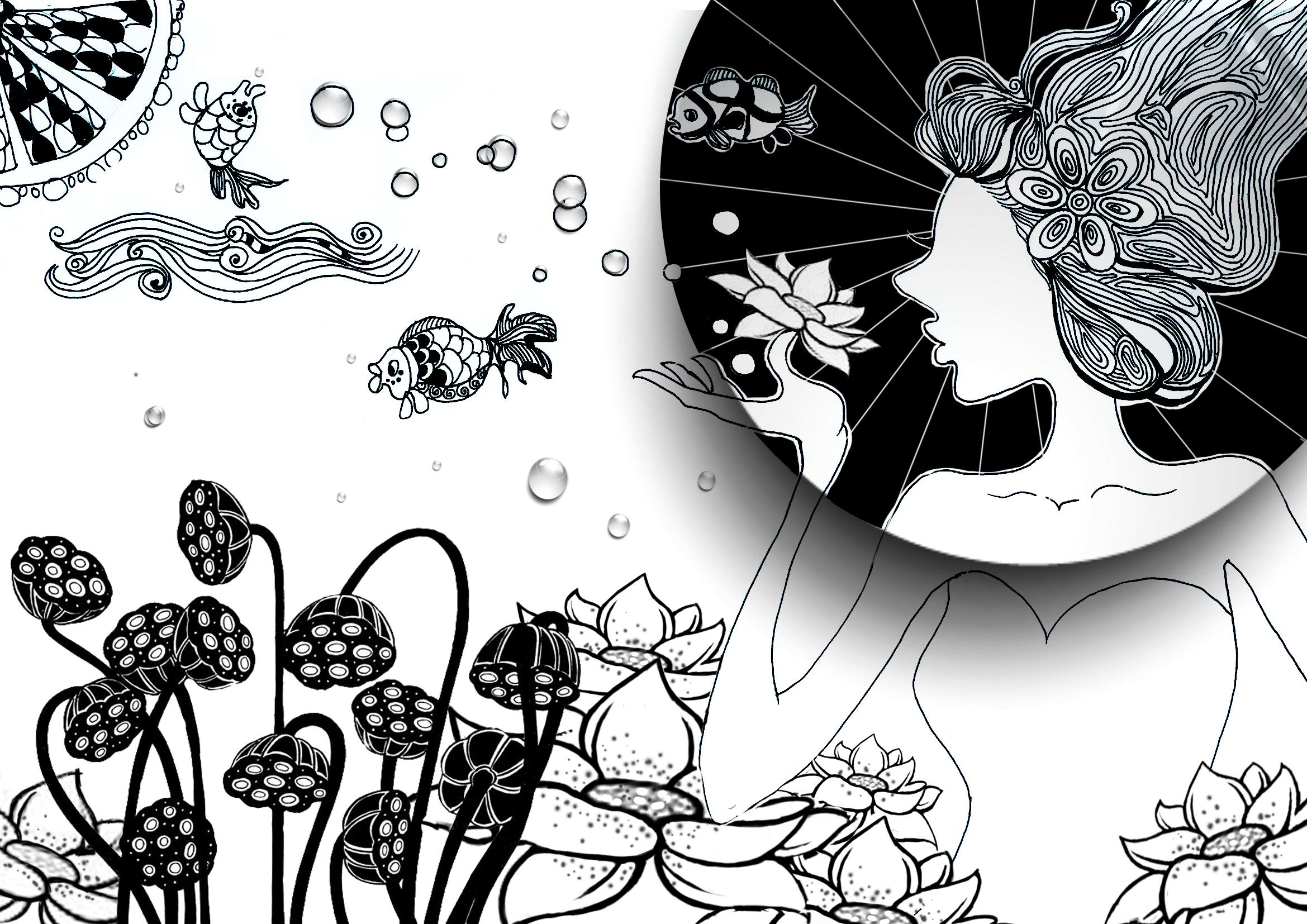 运用中国古典的元素,油纸伞,莲藕,荷花,金鱼等,以黑白插画表现的形式图片