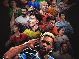腾讯体育中超英雄足球美漫插画集