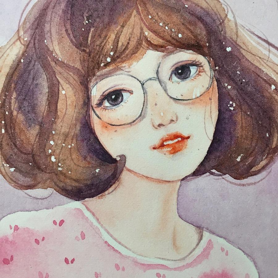 【小熊猫】水彩手绘人物水彩教程人物卡通头像手绘
