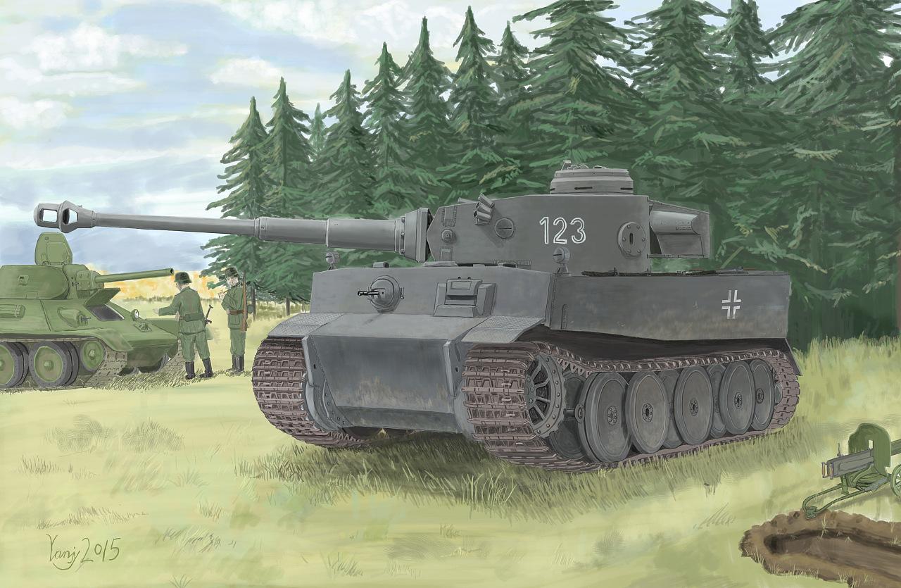 德国4号坦克_二战德国 虎式坦克(极初期型)|插画|商业插画|鸣也 - 原创作品 ...