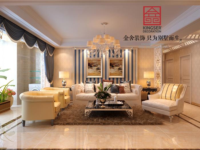 【想象国际小区138㎡三室两厅两卫装修效果图】-金舍装饰-石家庄装修