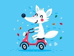 动物卡通扁平插画  儿童形象设计