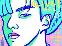钱正昊EP《ALIVE》封面涂鸦
