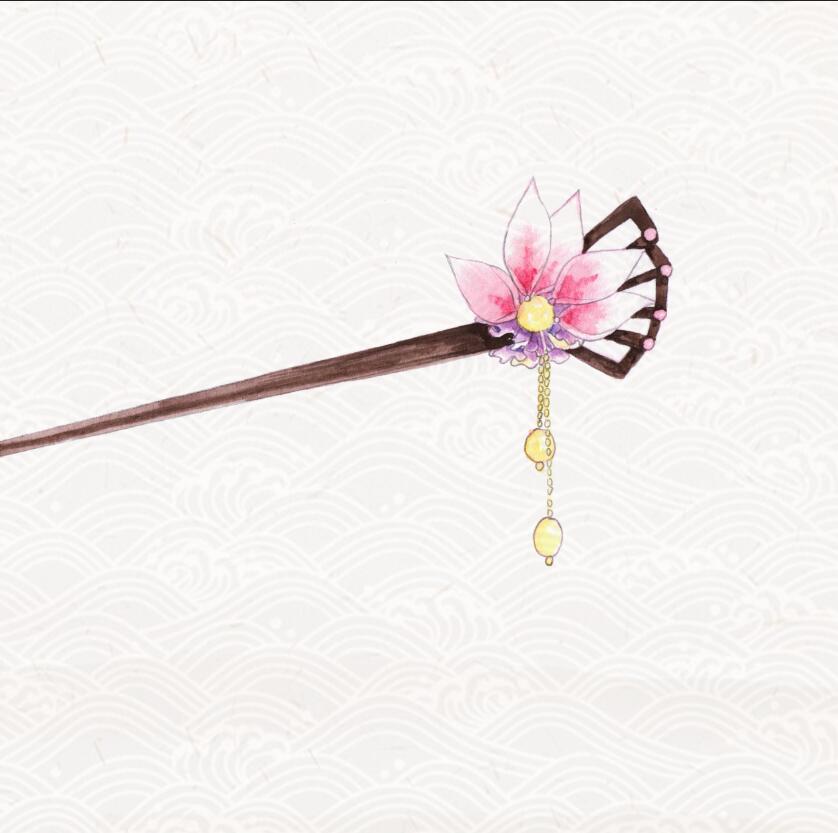手绘水彩 古风发簪|绘画习作|插画|lcy菜园子