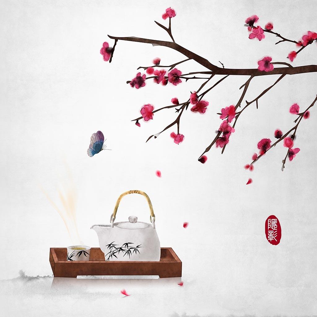 春天花枝蝴蝶茶文化意境古典24节气水墨画中式古风插画